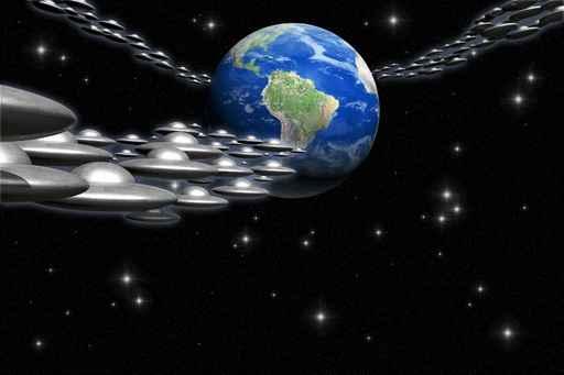 Alien Invasion Erde mit Raumflotte
